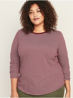 EveryWear Plus-Size Striped Crew Neck Tee