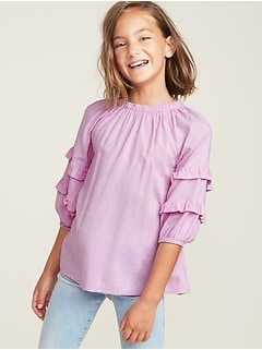 Textured Ruffle-Trim Top for Girls