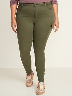 High-Waisted Secret-Slim Pockets Rockstar Sateen Plus-Size Cargo Pants