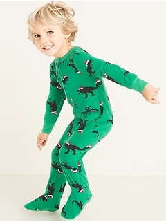 Christmas Dinosaur Performance Fleece Footie Pajama One-Piece for Toddler & Baby