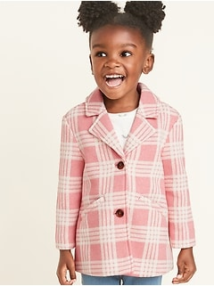 Plaid Sweater-Fleece Coat for Toddler Girls