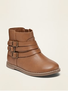 Faux-Leather Buckled-Strap Boots for Toddler Girls