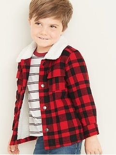 Plaid Flannel Sherpa-Lined Shirt Jacket for Toddler Boys