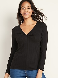 Soft-Brushed Twisted V-Neck Top for Women