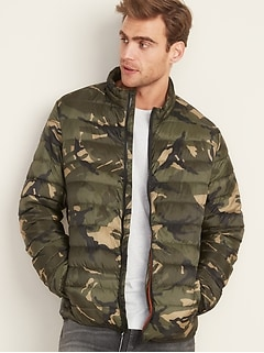Water-Resistant Camo Packable Quilted Jacket for Men