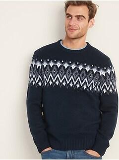 Fair Isle Crew-Neck Sweater for Men