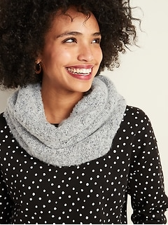 Bouclé-Knit Sherpa-Lined Infinity Scarf for Women