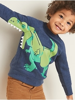 Dinosaur 3-D Graphic Sweatshirt for Toddler Boys