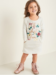 Graphic Sweatshirt Shift Dress for Toddler Girls