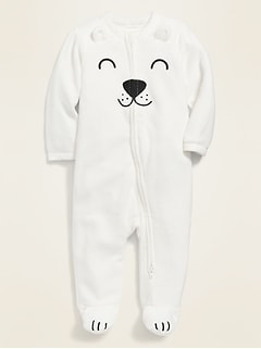 Micro Performance Fleece Polar Bear Footed One-Piece for Baby