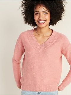 Cozy Bouclé V-Neck Sweater for Women