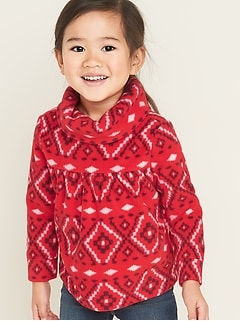 Micro Performance Fleece Cowl-Neck Pullover for Toddler Girls