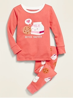 "Cookies & Milk ""Better Together"" Pajama Set for Toddler Girls & Baby"