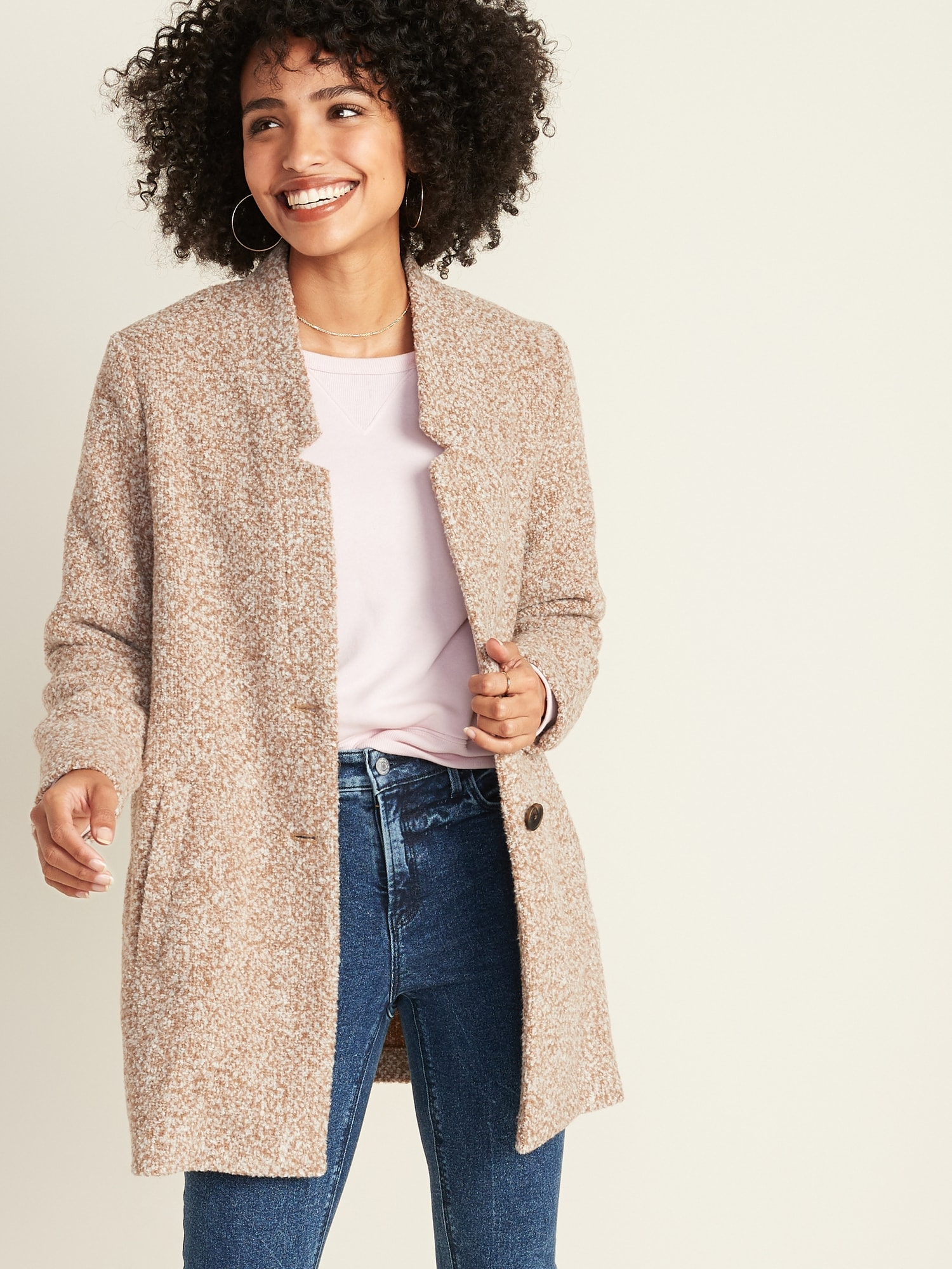 Relaxed Textured Button Front Coat For Women by Old Navy
