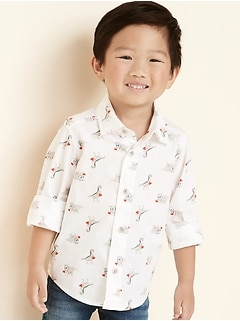 Valentine's Day Dinosaur Print Built-in Flex Shirt for Toddler Boys