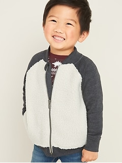 Sherpa Zip Bomber Jacket for Toddler Boys