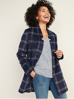 Relaxed Textured Plaid Button-Front Coat for Women