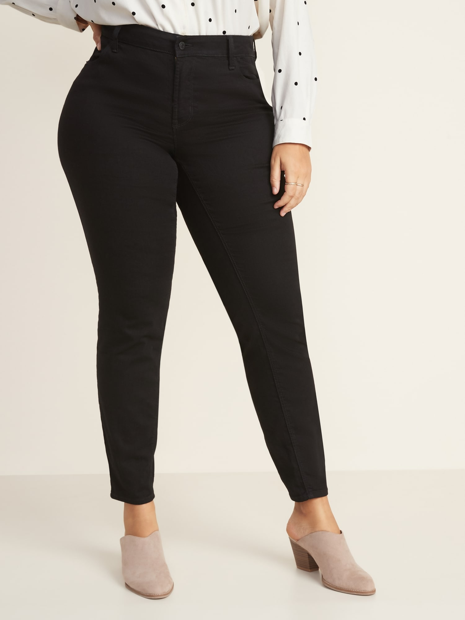 Mid Rise Super Skinny Plus Size Black Jeans by Old Navy