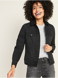 Sherpa-Lined Black Jean Jacket for Women