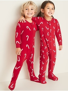Candy-Cane Print Performance Fleece Footie Pajama One-Piece for Toddler & Baby