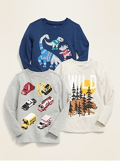Graphic Long-Sleeve Tee 3-Pack for Toddler Boys