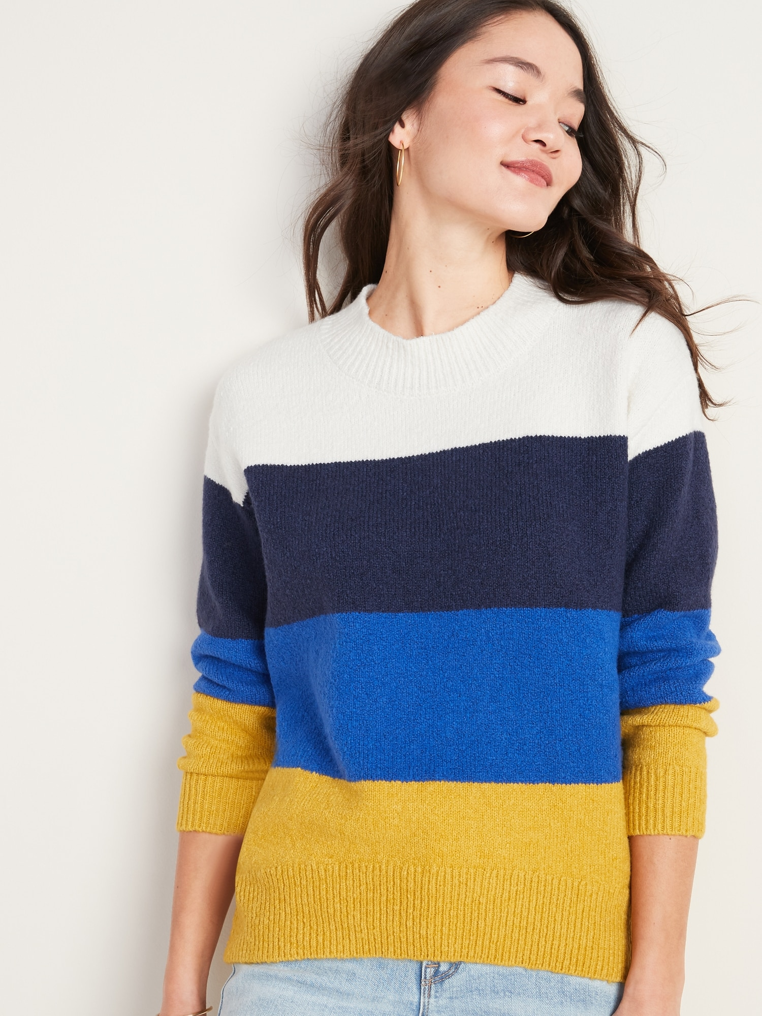 Cozy Color Block Bouclé Sweater For Women by Old Navy