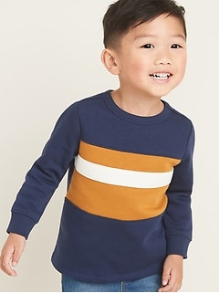 Fleece-Knit Color-Block Sweatshirt for Toddler Boys