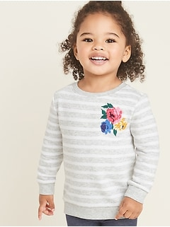 Relaxed Fleece-Knit Pullover Sweatshirt for Toddler Girls