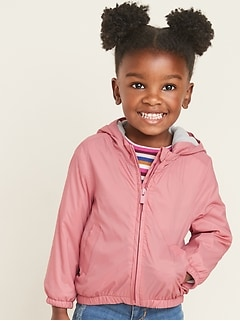 Water-Resistant Hooded Zip Jacket for Toddler Girls