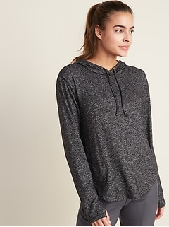 Relaxed Plush-Knit Hoodie for Women