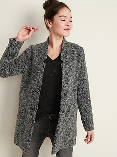 Relaxed Textured Button-Front Coat for Women