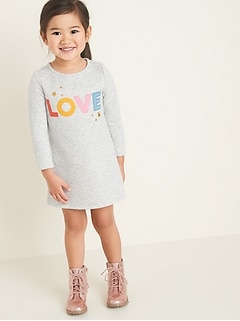 """Love"" Graphic Fleece-Knit Shift Dress for Toddler Girls"