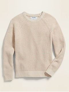 Textured Raglan-Sleeve Crew-Neck Sweater for Boys
