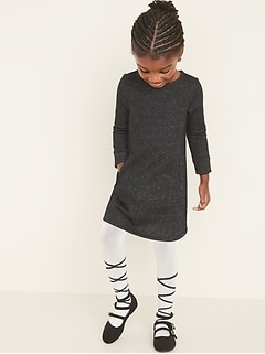 Metallic Sweatshirt Shift Dress for Toddler Girls