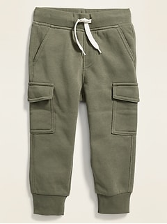 Fleece-Knit Cargo Joggers for Toddler Boys