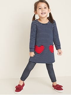 Striped Fleece-Knit Heart-Pocket Shift Dress for Toddler Girls