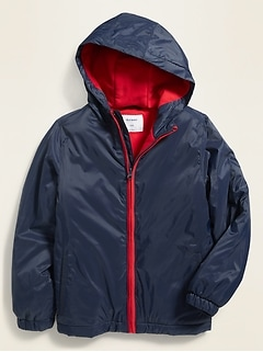 Water-Resistant Micro Performance Fleece Lined Windbreaker Jacket for Boys