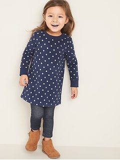 Printed Micro Fleece Shift Dress for Toddler Girls