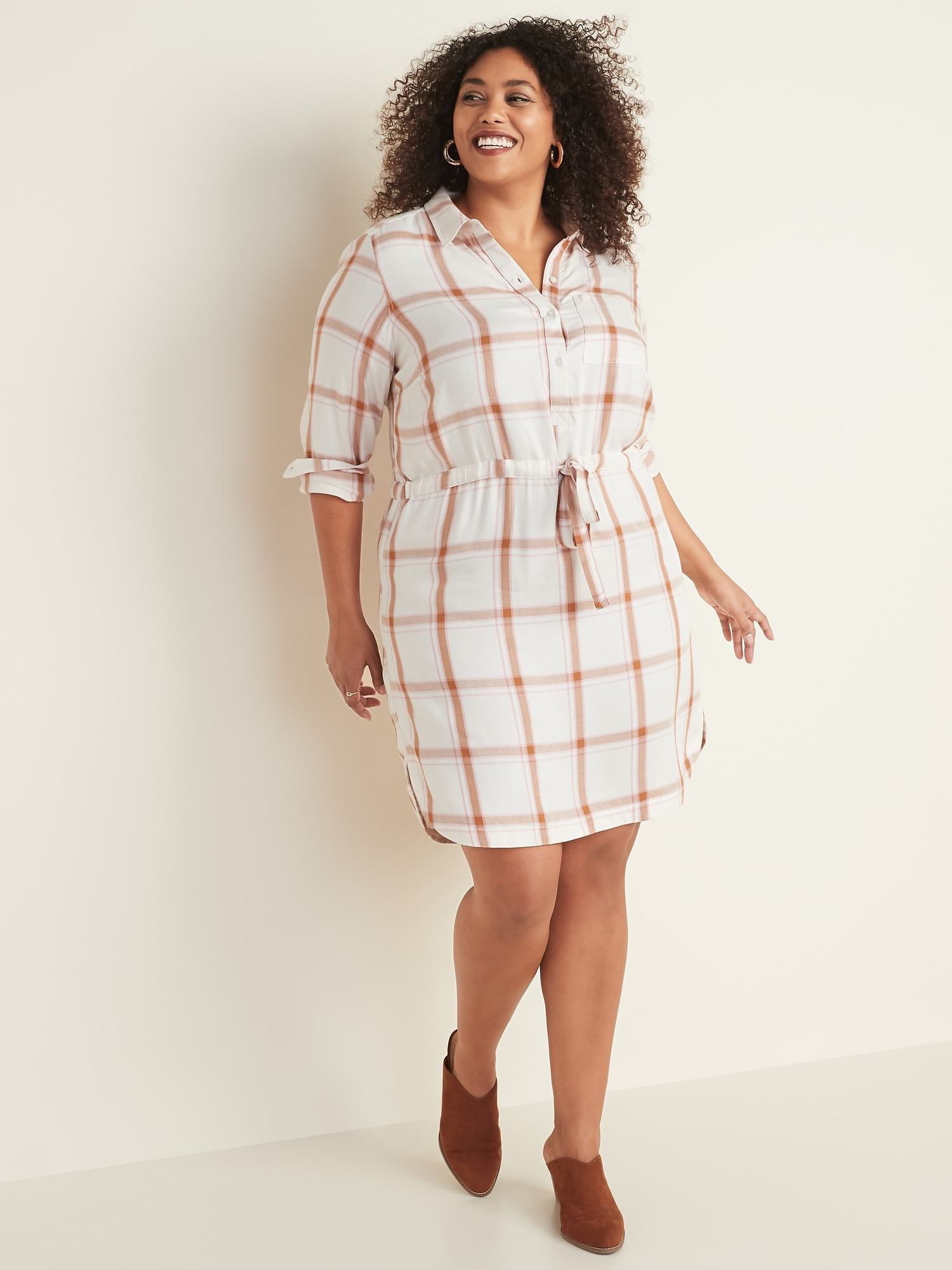 Waist-Defined Plus-Size Plaid Pullover Shirt Dress | Old Navy