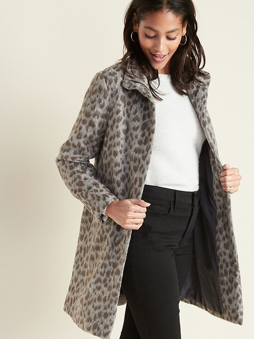 Relaxed Soft-Brushed Leopard-Print Coat for Women