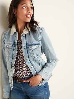Sherpa-Lined Jean Jacket For Women