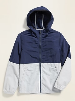 Color-Blocked Nylon Hooded Zip Jacket for Boys
