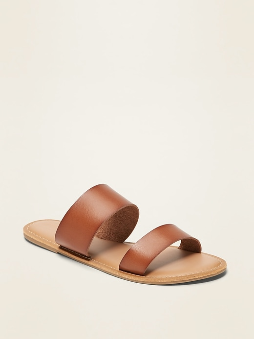 Faux-Leather Double-Strap Slide Sandals for Women