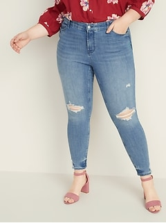 High-Waisted Secret-Slim Pockets + Waistband Distressed Rockstar Plus-Size Super Skinny Jeans