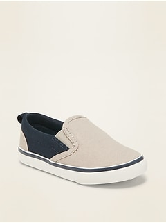 Unisex Color-Blocked Canvas Slip-Ons for Toddler