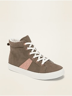 Faux-Suede Glitter-Stripe High-Top Sneakers for Girls