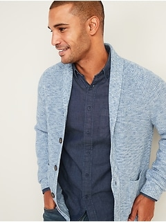 Textured Shawl-Collar Cardigan for Men
