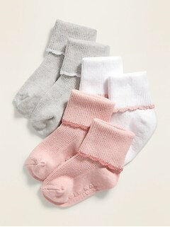 Fold-Over Crew Socks 3-Pack for Baby