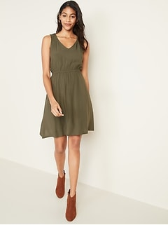 Sleeveless Waist-Defined V-Neck Dress for Women
