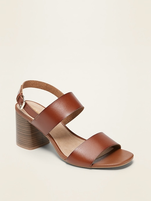 Faux-Leather Slingback Block-Heel Sandals for Women